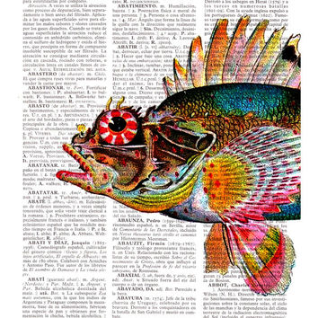 Wall art decor , Hawaiian Fish(Pilikoa) detail, Wall art sea house , Wall hanging  Print on dictionary, Sea shore wall decor, Fish print art