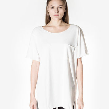 Basic Raw-Cut Elongated Short Sleeve Tee in Off-White: WMNS