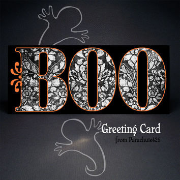 BOO Greeting Card, Halloween card, no 10, black orange white, typography card, goth