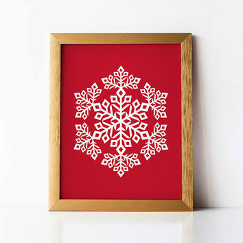 Christmas Printable art, Snowflake PRINTABLE wall art print, White and Red Christmas decor, Snowflake art, Christmas decoration Holiday gift