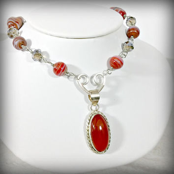 Red Necklace Carnelian Necklace Beaded Necklace Pendant Necklace Gemstone Statement Necklace Sterling Silver Gift for Her Gift for Mom