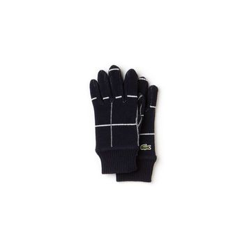 Unisex Lacoste LIVE Check Wool And Alpaga Ribbed Gloves