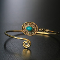 Turquoise Tribal bangle bracelet