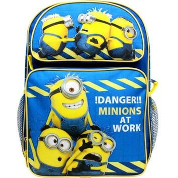 "Despicable Me Minions 16"" Canvas Blue School Backpack Danger! Minions At Work"