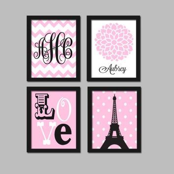 PARIS Wall Art,CANVAS or Prints,Paris Eiffel Tower,Pink Black Monogram,Baby Girl Nursery Decor,Girl Bedroom Pictures,Paris Decor Set of 4