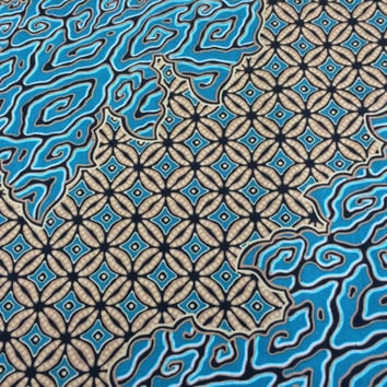 Kenyan Fabric--African Wax Print Fabric--Java Print Fabric--Turquoise and Tan Swirl Print Fabric--African Fabric by the HALF YARD