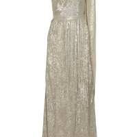 Oscar de la Renta - One-shoulder metallic jacquard gown
