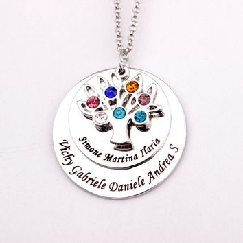 Personalized Family Tree Pendant Necklace with Birthstones