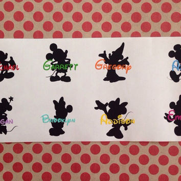 Disney Inspired Name Decal | Mickey Minnie Name Decal | Mickey and Minnie Silhouette Decal | Disney Name Decal| Disney Vacation |Walt Disney