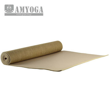 Organic jute yoga mat, made from natural fabrics. free durable carry bag included