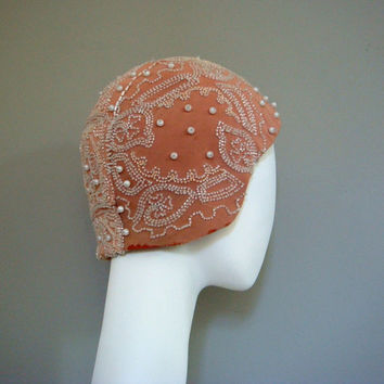 vintage 1920s beaded cloche pink flapper hat by BabesinVintageland