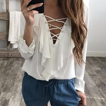 Lace Up V Neck Ruffles Long Sleeve Shirt