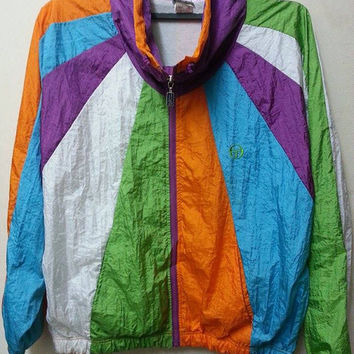 Sale Vintage 1980s Sergio Tacchini Sweater Neon Multi Colour Colourfull Hip Hop Bomber Jacket