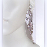 Pale Lavender rhinestone Ear cuff with matching drop earrings 11-13