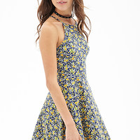 FOREVER 21 Ditsy Floral Skater Dress Navy/Yellow Small