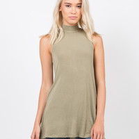 Ribbed Mock Neck Tank Top