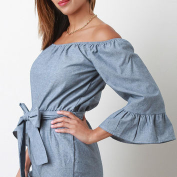 Chambray Off-The-Shoulder Bow Tie Bell Sleeve Romper