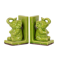 Elephant Bookends - Green
