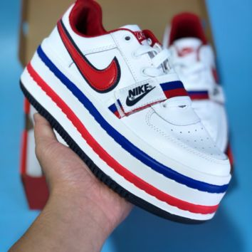 KUYOU N533 Nike Vandal 2X Vintage Leather Toning Platform Shoes White Blue Red
