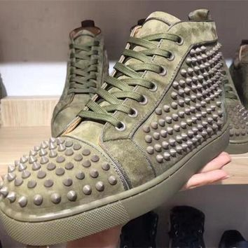 DCCK2 Super Perfect Christian Louboutin camo green Flat High Top Spike Sneaker