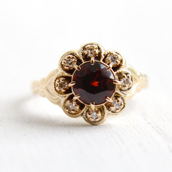 Antique 10k Yellow Gold Garnet and Diamond Cluster Ring - Size 7 1/4 Art Deco 1920s 1930s Floral Engagement Fine Jewelry