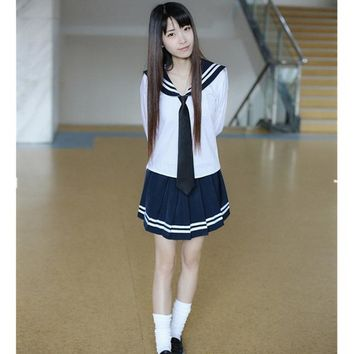 Fashion JK Sailor Uniform High End Japanese  School Girl Costumes Spring Autumn Long Sleeve School Uniform For Girls OY-G1018