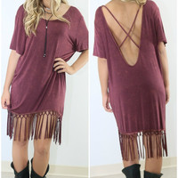 The Kingsland Burgundy Stone Wash Drop Back Shirt Dress With Fringe Hem