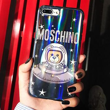 MOSCHINO Hot Popular Chic Space Bear Astronaut Laser Soft Case Mobile Phone Cover Case For iphone 6 6s 6plus 6s-plus 7 7plus 8 8plus X XsMax XR