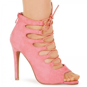 Laila Candy Pink Faux Suede Lace Up Heel Sandals