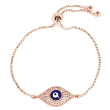 Evil Eye Toggle Bracelet - Rose Gold