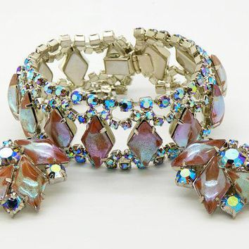 Vintage Juliana D&E DeLizza Elster Saphiret AB Rhinestone Bracelet and Clip Earrings