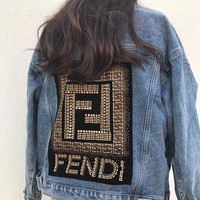 FENDI Autumn Winter Fashionable Casual Long Sleeve Cardigan Denim Rivet Jacket Coat Blue