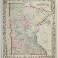 Antique Minnesota Map Vintage Original Old 1871 Mitchell Map of Minnesota State County Anniversary Wedding Travel Gifts for Home Her Him