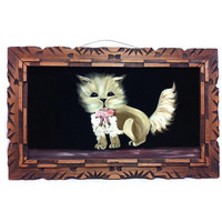 Vintage Black Velvet Painting on Fabric Cat Painting Animal Portrait Cat Portrait Wood Carved Frame Wooden Frame Mexico Art 1970s Art 70s