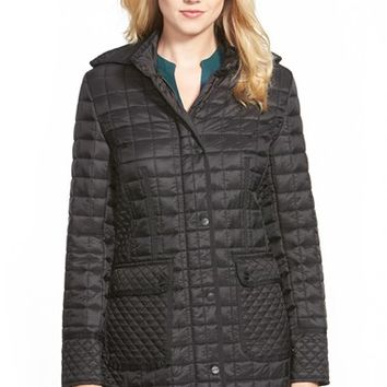 Women's DKNY Quilted Coat with Detachable Hood,