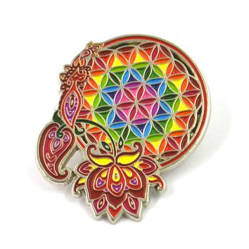 The Red Flower Life Dreamcatcher Pin