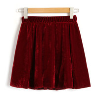 Vintage Elastic Waistband Skirts in Velour Detail