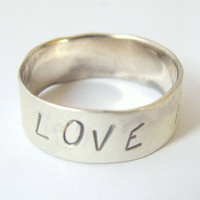Message Ring Sterling Silver Ring with LOVE HOPE DREAM  Message/Made to order