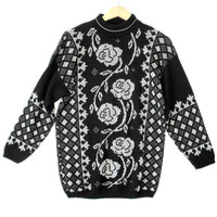 Vintage 80s Black Sparkle Roses Oversized Slouch Ugly Sweater - The Ugly Sweater Shop