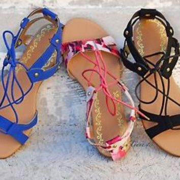 Womens Sandals Gladiator Lace Up Flat Sandal Shoes Open Toe New