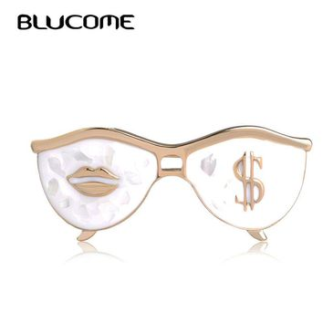 Blucome Fashion White Sunglasses Brooches Lips Dollar Shape Shell Brooch Women Men Clothes Accessories Glasses Corsage Pin Clips