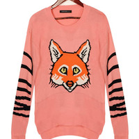 'The Romina' Pink Animal Printed  Knitted Sweater