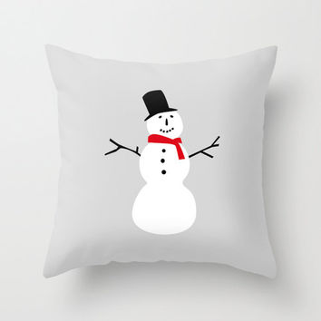 Winter Snowman Pillow Cover, Gray White & Red Christmas Throw Pillowcase for Living Room and Holiday Home Decor