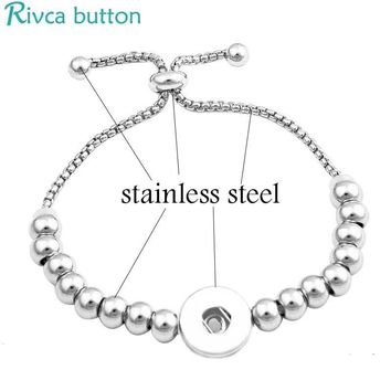 Rivca Adjustable Snap Button stainless steel Bracelet ginger snap Charms Jewelry Bracelet 18mm fashion stainless steel bracelet
