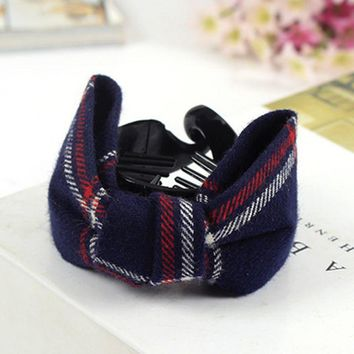 Fashion Simple Chain Ring Double Gripper Plaid Bow Cloth Banana Clip Hairpin Hair Accessories Hair Claws For Women Headwear