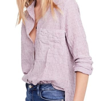 Free People No Limits Stripe Stretch Cotton Shirt | Nordstrom