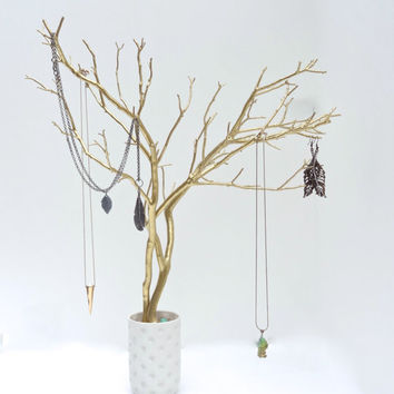 Jewelry Holder Organizer Tree Gold Necklace holder branch