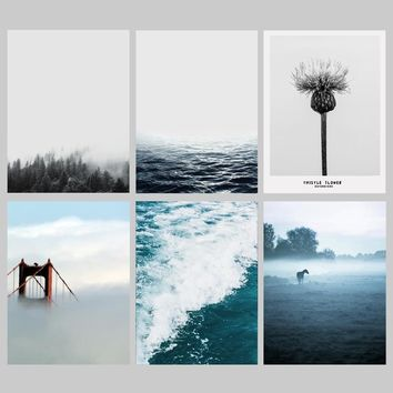 Nordic Tree lake sea  Landscape Art Canvas Art Print Painting Poster Giclee Print Wall Pictures For Home  Wall Decor
