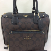 New Authentic Coach F58312 Mini Bennett Satchel Shoulder Bag Signature PVC Brown Black+ Wallet Set