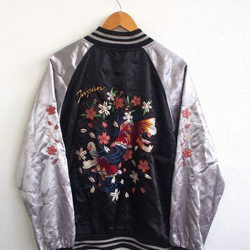 BIG SALE 25% Vintage Sukajan Japan Fish KOI Sakura Moon 80's Embroidery Okinawa Japanese Satin Coat Souvenir Silver Jacket Size Xl